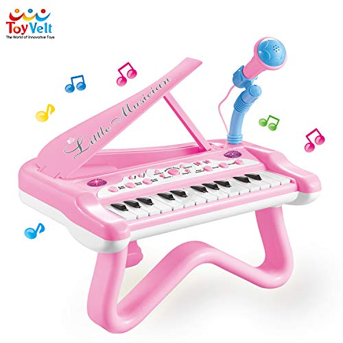 ToyVelt Toy Piano for Toddler Girls - Cute Piano for Kids with Built-in Microphone & Music Modes - Best Birthday Gifts for 2 3 4 5 Year Old Girls - Educational Keyboard Musical Instrument Toys (Best Music Gifts For Toddlers)