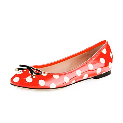 YDN Shoes Round on Women Flat with Bowknot Toe Walking Heel Slip Dot Polka Red White Ballets qttPwr0