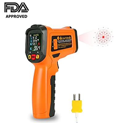 Infrared Thermometer, Digital Laser IR Thermometer Non Contact Temperature Gun -58°F to 1472°F (-50 °C~ 800 °C) with K-Type Thermocouple for Kitchen Cooking BBQ Automotive and Industrial [New Version]