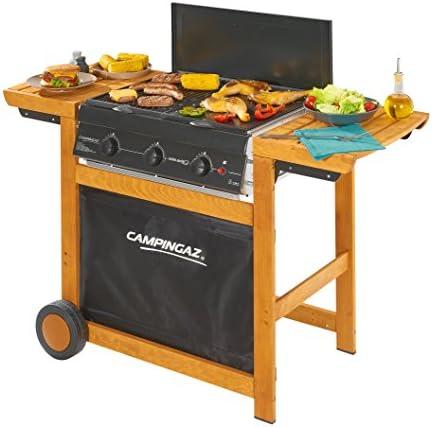 Campingaz Barbecue Gaz Adelaide 3 Woody, 3 Brûleurs BBQ Gaz, Puissance 14kW, Système de Nettoyage Facile InstaClean, Grille et Plancha en Acier Double Emaillage, 2 Tablettes Latérales