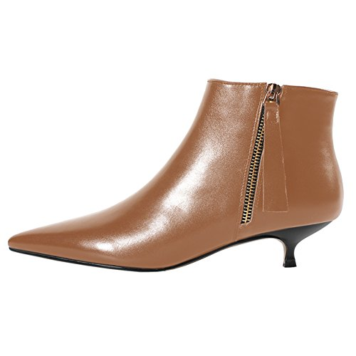 MERUMOTE Women's Brown Leather Ankle Boots Low Heels Shoes Zipper Winter Booties Brown 7 US ()