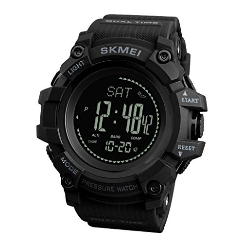Baosity Reloj Deportivo Digital Altímetro Barómetro Brújula Podómetro Profesional - Negro