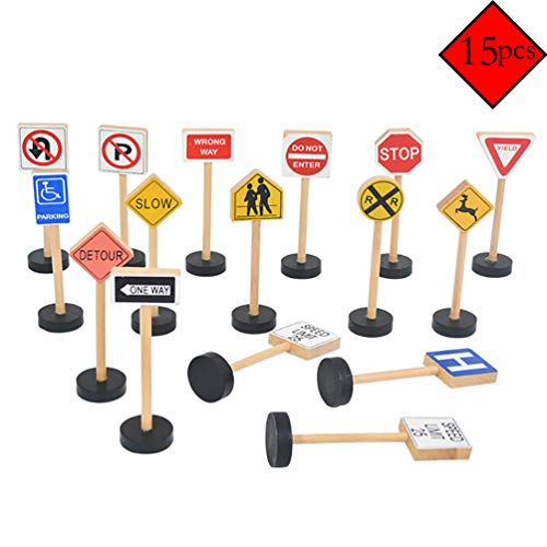 wonuu Wooden Street Signs Playset for Kids 15 Pieces Compatible with All Major Train Brands, Block Sets, & Carpet Playmats by Imagination -