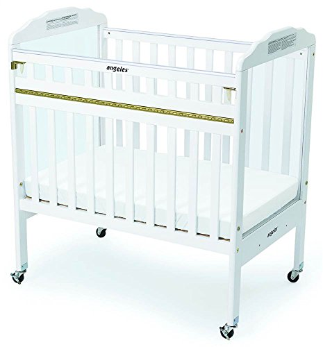 Angeles Clear View Panel Drop Gate Crib, White