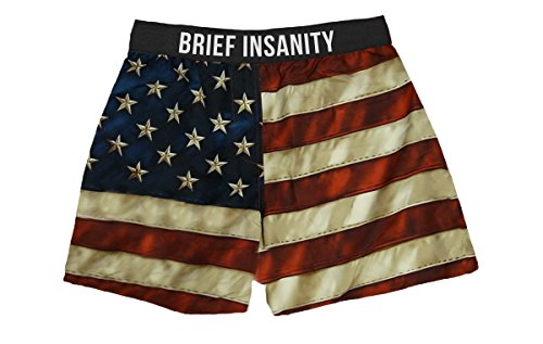 Brief Insanity American USA Flag Silky Patriotic Boxer Shorts Gifts for Men Dad by Brief Insanity