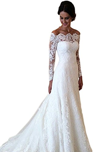 Mathena Women's Long Sleeve Off Shoulder Lace Long Mermaid Bride Wedding Dress US 2 White by Mathena