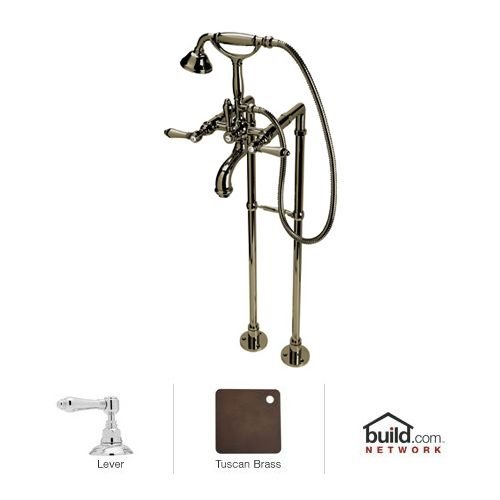 Rohl AKIT2101LPTCB Kit Country Bath San Julio Floor Mounted Exposed Tub Shower Mixer Package with Porcelain Insert Handshower and Porcelain Levers, Tuscan Brass by Rohl