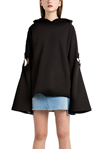 La Mujer Casual Long Hollow Out Bell Sleeve Oversized Hoodie Pullover Sweatshirt Sweater Blusa Otoño Invierno Black