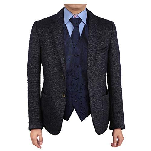 (Epoint EGD1B03C-2XL Navy Black Paisley Vest Microfiber Lawyers Dress Vests Neck Tie Set Luxury For)