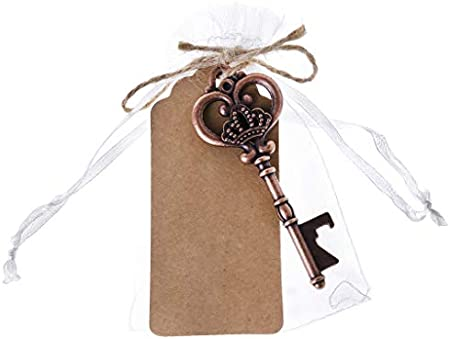 ESden Llavero portátil con forma de llave de esqueleto para botellas de vino de cerveza, recuerdo de boda, herramienta de regalo de aleación con tarjeta de escolta