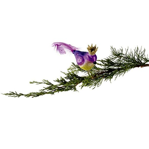 Sugared Fruit Purple Glass Bird with Crown Clip-On Christmas Decoration 8