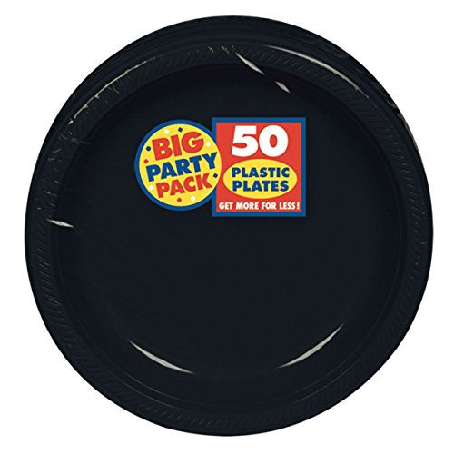 """Big Party Pack Jet Black Plastic Plates   7""""   Pack of 50   Party Supply from Amscan"""