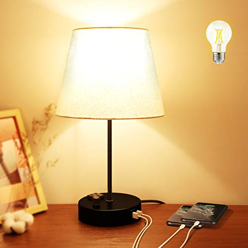 SHINEISLAND Bedside Table Lamp,Fully Dimmable Nightstand Reading Lamps with 2 USB Charging Ports&One Outlet,Simple USB…