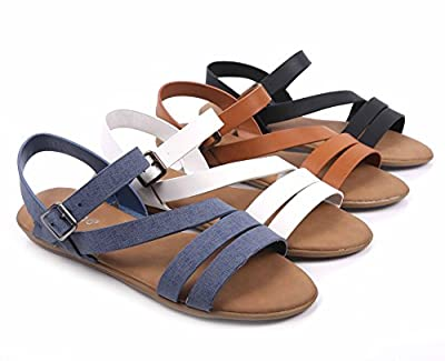 BAMBOO Open-Toe Strappy Gladiator Fully Cushioned Footbed Slingback Slip-on Sandals Shoes