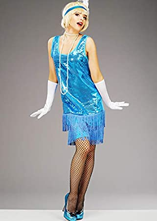 Magic Box Disfraz de niña con Lentejuelas Azules para Mujer de ...