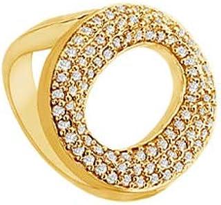 Cubic Zirconia O Ring 14K Yellow Gold 0.50 CT Cubic Zirconia