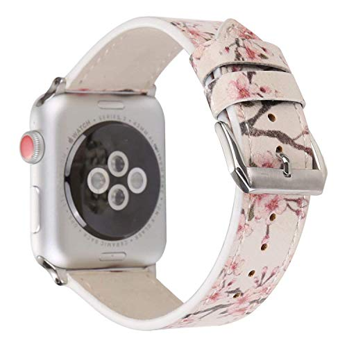 Angeland Chinoiserie Plum Blossom Flower Design Women Watchband Floral Leather Replacement Band Compatible with Apple Watch 38mm Series 3, Series 2, Series 1 - Light Pink (Three Light Blossom)
