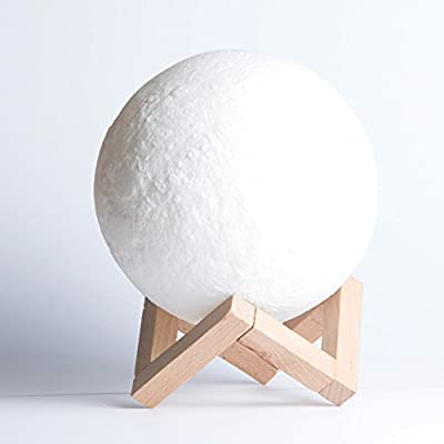 Night Light - 3D Printing Moon Lamp XL - Bedside Table Lamp - Cordless LED Moonlight for Bedroom, Floor, Nightstand & Baby Nursery - Indoor-Outdoor Lantern - Touch Activate Color Changing Modern Decor