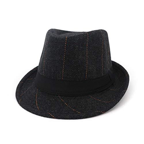 Fange Unisex Gentlemen and Ladies Jazz Felt Fedora Hat Short Brim 1-Black
