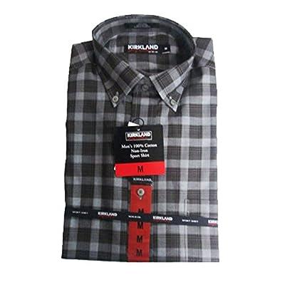 New Kirkland Signature Men - 100-Cotton Non-Iron Shirt- Medium - Black/Grey Plaid