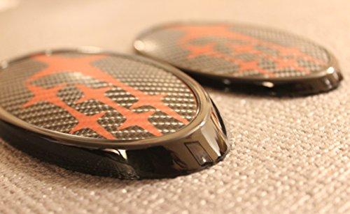 GetUrGear WRX Front & Rear Carbon Fiber Gloss Black / Red Badge Emblem For 2015-Up WRX / STI (Wrx Carbon)