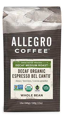 Allegro Coffee Decaf Organic Espresso Bel Canto Whole Bean Coffee, 12 oz
