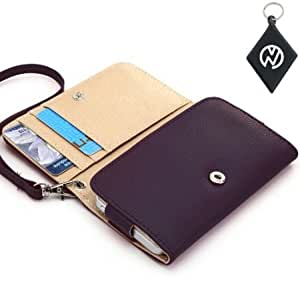 Bloutina Nokia 710 Lumia Wallet - Purple Clutch Carrying Cover Case with Built-In Credit Card Slots and Detachable Handstrap...