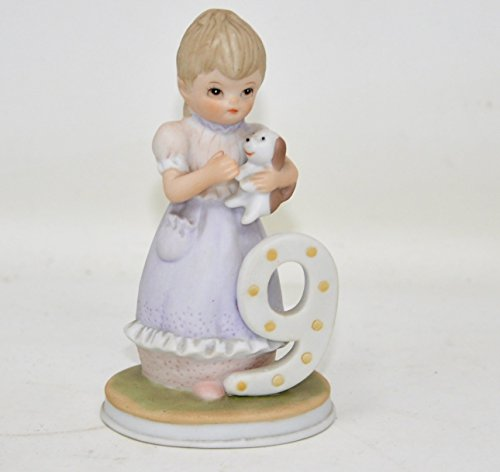 - Lefton Christopher Collection AGE 9 BIRTHDAY GIRL Ceramic Figurine