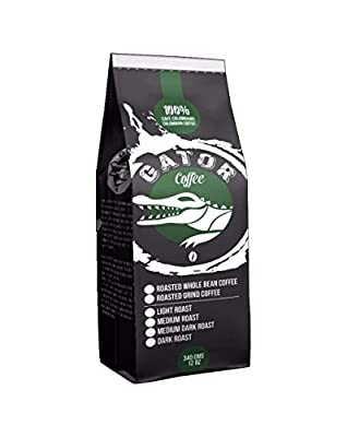 Gator Coffee Roasted Colombian Coffee Beans, Nanolots Single Origin Direct trade Artisan Roasted Medium Roast 4 ounces