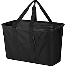 CleverMade SnapBasket 30 Liter Reusable Tote Bag with Reinforced Bottom: Collapsible Grocery Shopping Basket, Black/Black