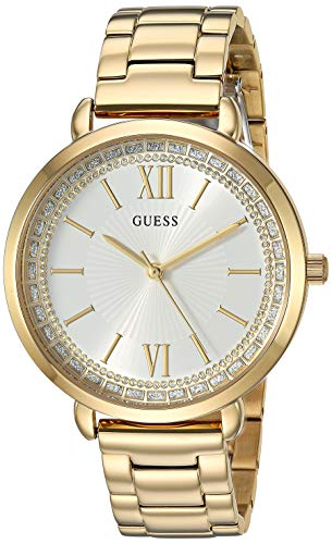 - GUESS  Gold-Tone Stainless Steel Crystal Bracelet Watch. Color: Gold-Tone (Model: U1231L2)
