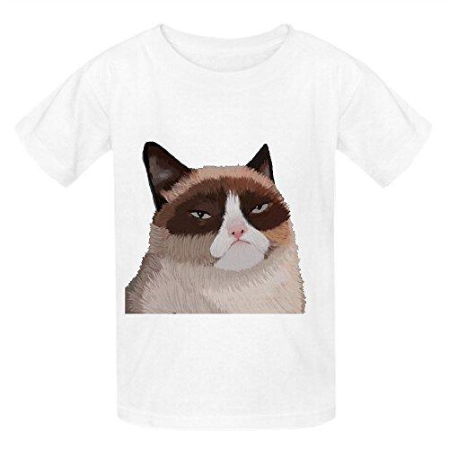 Grumpy Cat Oog Boys' Crew Neck Personalized Tees White