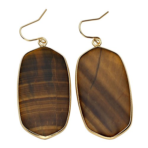 (Top Plaza Womens Fashion Natural Gemstone Oval Rhombus Ear Hook Water Drop Ear Pendant Dangle Earring(Tiger Eye Stone))