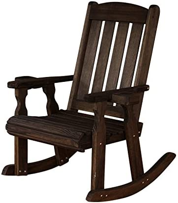 Amish Heavy Duty 600 Lb Mission Pressure Treated Rocking Chair with Cupholders Dark Walnut Stain