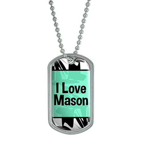 Dog Tag Pendant Necklace Chain I Love Heart Name La-Mo - Mason (Mason Necklace Name)