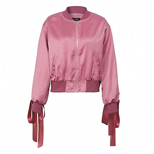 Coated Biker Style Jacket - Clothing Square Bomber Jacket Coat Women Satin Lace up Pocket Biker Jacket Outerwear Casual Streetwear,Large,Pink