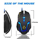 USTEK Gaming Mouse Wired with 6 Programable Buttons 4 Color Cycle Breathing Light, Ergonomic Game USB Computer Mice Gamer Desktop Laptop PC Gaming Mouse Used for games and office