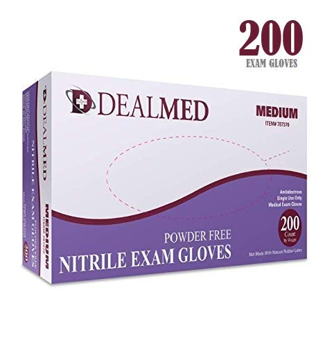 Dealmed Brand Nitrile Medical Grade Exam Gloves, Disposable, Latex-Free, 200 Count, Size Medium