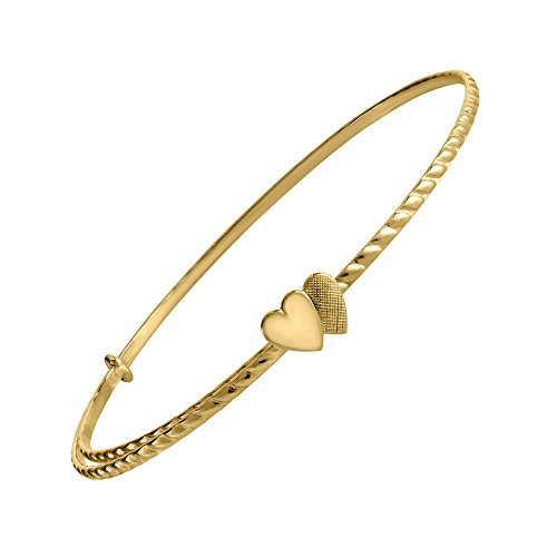 14K Yellow Gold Double Heart Adjustable Bangle Bracelet for Children by Loveivy