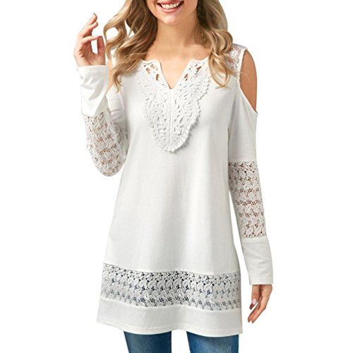 UMFun Women's Lace Tops Butterfly Off Shoulder Long Sleeve Blouse Shirt (XL) by UMFun