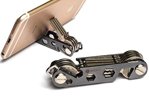Compact Smart Key Organizer | Compact Key Holder | Keychain Organizer | Bottle Opener | Tools keychain | Great Gift (Black)