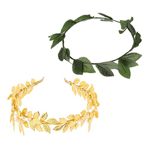 SM SunniMix Pack of 2pcs Roman Greek Goddess Toga Gold Green Leaf Laurel Wreath Head Bands Party Dressing up Costume Hair -