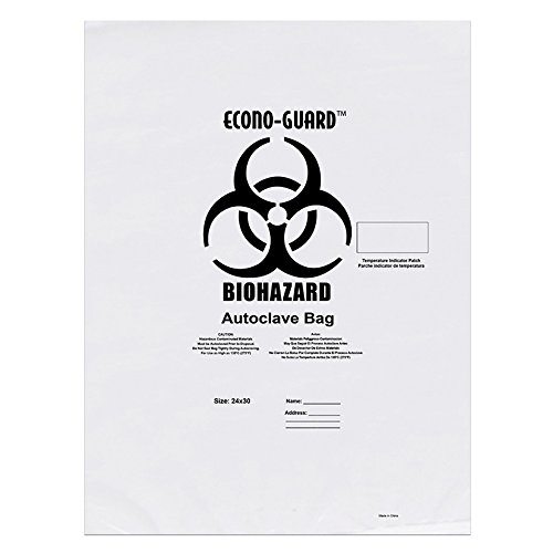 Action Health ACC31X38 Econo-Guard Polypropylene Biohazard Autoclave Bag, 31W x 38H, 2 mil, Indicator, clear, Biohazard Print, Case 200, Shape,, (Pack of 200) by Action Health