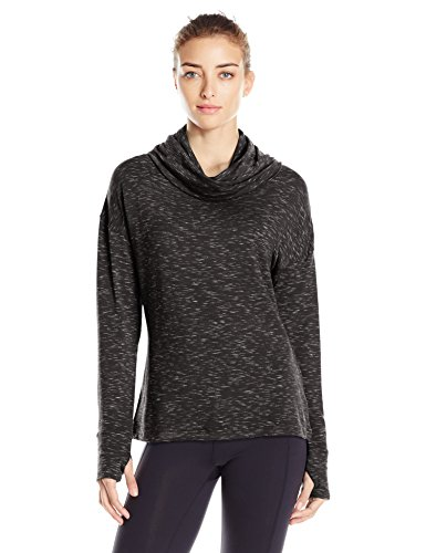 Danskin Women's Space Dye French Terry Pullover, Rich Black, - Danskin Pullover Womens