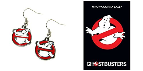 Ghostbusters Logo Movie/TV Theme Charm Dangle Earrings W/Gift Box (Ghostbuster Accessories)