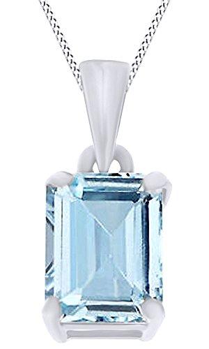 White Gold Aquamarine Pendant - 5