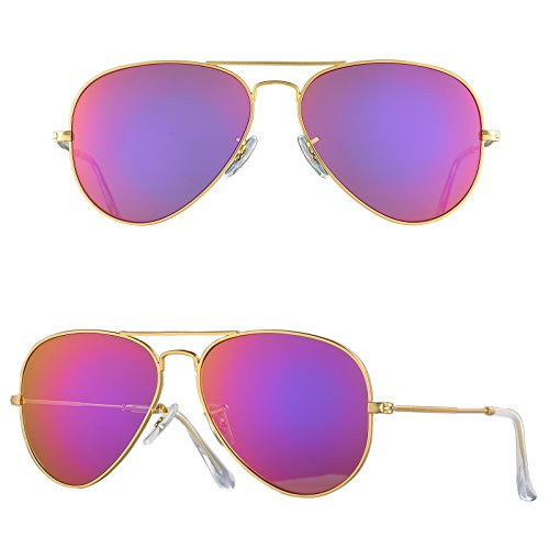 BNUS Corning natural glass New aviator Sunglasses Italy made with Polarized Choices (Frame: Matte Gold / Lens: Magenta Flash, - K C Sunglasses