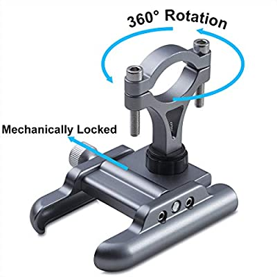 iMESTOU Aluminium Bike/Motorcycle Phone Holder Handlebar Phone Mount 360 Rotatable Compatible with Samsung Galaxy Note10/10+ iPhone XS/XR 3.5-7.2inch Cellphones (Titanium): Automotive