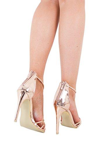 Catwalk - Sandalias de vestir de Poliéster para mujer dorado oro rosa