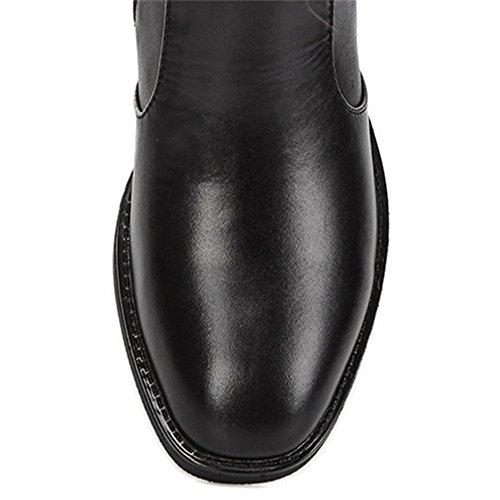 Women's Knee Nine Over The Toe Buckle Round Seven Zippers Black Boot Cow Riding Handmade Heel Block Leather UOrtUw4qx